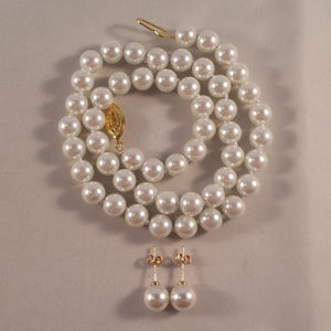 14K Gold AAA Pearl Earrings and Necklace GPEP